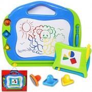 2 Magnetic Drawing Boards with Multi-Colors Drawing Screens; Erasable Doodle Sketch Magna Board for Writing, Sketching, Travel Gaming Pad, Easter Stuffers, Educational Learning and Classroom Prizes.