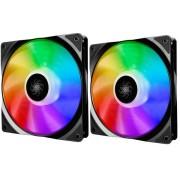 Ventilator DeepCool CF140, 2 buc., LED RGB, 140mm (Negru)