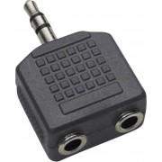 Adaptor jack 3,5 mm, stereo, 1 mufă tată/2 mufe mamă, 1102014 BKL Electronic