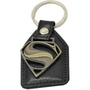 Faynci Fashion Genuine Leather Key Chain with Superman Metal Log cool gift for loved one