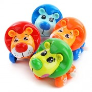 Emob Cute Lion Toys Wind-up with Winding Chain and Moving Wheels Feature for Toddlers (Lion)