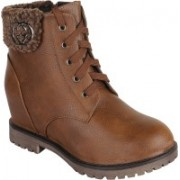 Authentic Vogue Authentic Vogue Womens Stylish Wedge Heel Black Boot Boots For Women(Brown)