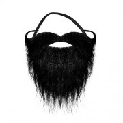 Robelli Black Halloween Pirate Elasticated Beard with Curly Moustache