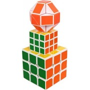 Montez 3 in 1 3x3 Magic Rubik 3x3 Big, Mini & Snake Cubes Puzzle Game Toys for Pack of 03