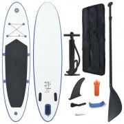 vidaXL Prancha de paddle SUP insuflável azul e branco