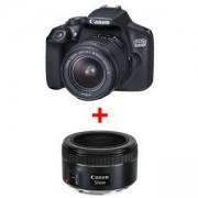 Огледално-рефлексен фотоапарат Canon EOS 1300D + EF-s 18-55 mm DC III+ Обектив Canon LENS EF 50mm f/1.8 STM
