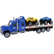 UMKYTOYS Truck Car Transporter Toy Best Gifts for Boys Kids Toddlers Comes with 2 Friction Monster Racing Cars
