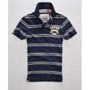 Superdry Twin Stripe Polo-Shirt M marineblau