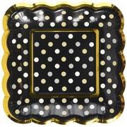 amscan Mini Paper Scalloped Square Plates Black, Multicolor
