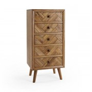 Oak Furnitureland Brushed and Glazed Solid Oak Chest of Drawers - Tallboy - Parquet Range - Oak Furnitureland