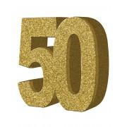 Deguisetoi Décoration de table 50 ans dorée 20 x 20 cm