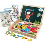 Angel Impex Black and White Wooden Magnetic Board Puzzle with Animal Learning Accessories Along with Chalk Marker and D