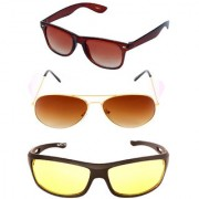 Magjons Brown Wayfarer Aviator Sunglasses Combo Yellow Driving Goggale Set of 3 With box MJK011