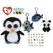 Stuffed Animals Beanie Boos Bundle 1 Medium Sized (9-in) Penguin with 3 Clips Keychains Green Dragon, Blue Fish and Panda Bear Plush Toys with One Bonus Puzzle Animal Eraser