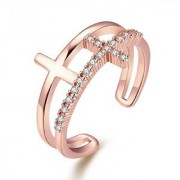 Glamourous Cross Design Cubic Zirconia Crystal Adjustable Ring For Women Girls (Rosegold)