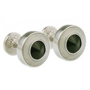 Mousie Bean Crystal Cufflinks Round Polo 004 Pearl/Jet