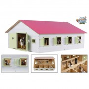 Kids Globe Horse Stable with 7 Boxes 1:24 Pink 610189