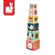 JANOD Drewniana piramida, wieża, 6 klocków - nauka kształtów, cyferek, zwierząt Baby Forest,