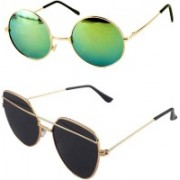 Daller Round, Retro Square Sunglasses(Black, Green)