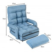 Costway Fauteuil Convertible Chauffeuse Convertible 1 Place en Tissu Gris avec Oreiller 5 Positions Bleu