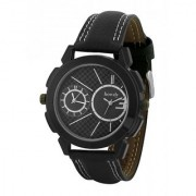 howdy Smart Analog Black Dial Watch With Black Leather Strap With Dual Time Display - For Men's Boys ss566