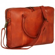 vidaXL Zippered Laptop Bag Real Leather Tan