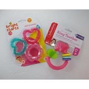 Baby Gift Bundle - 2 Items: Infantino Pink Ring Teether and Bright Starts Chill & Teeth Teethers 3pack.