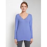 TOM TAILOR Shirt met lange mouwen en kanten rand, parisienne blue melange, XXXL