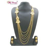 My Design Bridal Gold Plated Wedding Long Designer Necklace Set For Women And Girls