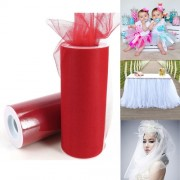 Fashion Tulle Roll 20D Polyester Wedding Birthday Decoration Decorative Crafts Supplies Size: 160cm x 25cm(Red)