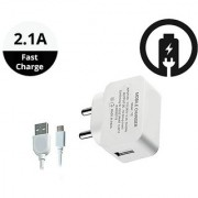 2.1A Fast Wall Charger for All Mobiles Tablets Other Devices Micro USB Cable (White)