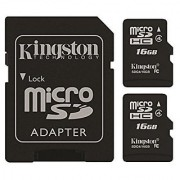 Kingston Digital 16GB Micro SD Flash Card Pack of 2 One Adapter with Jcase (SDC4/16GB-2P1AET)