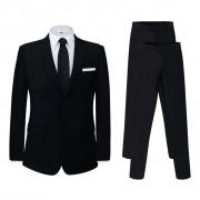vidaXL Két darab fekete férfi öltöny extra 52-s méretű nadrággal
