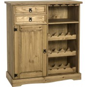 Corona Sideboard/Wine Rack Unit in Distressed Waxed Pine