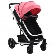 vidaXL Carrinho de bebé/berço 2 em 1 de alumínio cor-de-rosa e preto