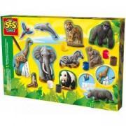 Детски креативен комплект за отливки и оцветяване животни, SES, 080863