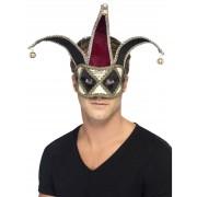 Deguisetoi Loup vénitien clown arlequin noir et argent adulte