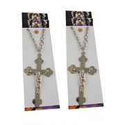 eshoppee jesus christ cross sign locket pendant with chain men's necklace set of 2 pcs for man and women (silver)