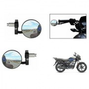 Kunjzone Bike Handle Grip Rear View Mirror BLACK Set Of 2- For Hero HF Deluxe i3s