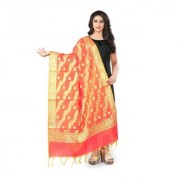 Florence Peach Banarasi Silk Weaved and Jacquard Dupatta