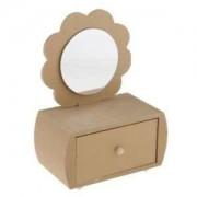 ELECTROPRIME® Mini Flower Design Unfinished Wood Jewelry Boxes Storage Box w/Drawer Mirror