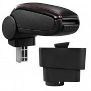 [pro.tec] Márkaspecifikus kartámasz / könyöklő autóba - Fiat Grande Punto modellhez - műbőr - fekete piros varrással