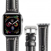 QIALINO Top Layer Cowhide Leather Watch Strap for Apple Watch Series 4 44mm, Series 3 / 2 / 1 42mm - Black