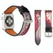 Voor Apple Watch serie 3 & 2 & 1 42mm vlinder patroon lederen pols horloge Band