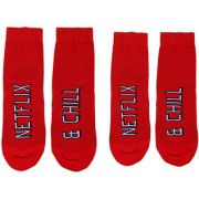 Soxytoes Netflix & Chill His & Hers Red Cotton Ankle Length Pack of 2 Pairs Unisex Casual Socks (SOSN0089)