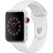 Smartwatch Apple Watch Series 3 GPS + Cellular, 38mm, Carcasa Silver Aluminium, Bratara Sport White