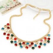 BAGISIMO Zlatý náhrdelník s barevnými kamínky