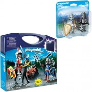 Playmobil Knight Playset Bundle with Knights Carrying Case and Knight's Rivalry Duo Pack