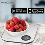 Proficook KW 1158 - Báscula de Cocina digital con Bluetooth, aplicación para control de calorias, dietas y valores nutricionales, compatible con iOS o Android