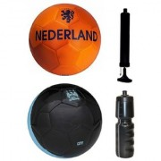 Combo of Nederland Orange + City Black Football (Size-5) with Air Pump & Sipper